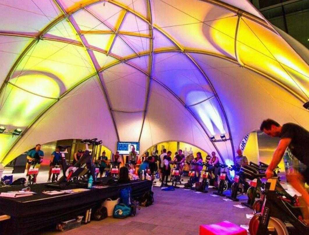 Hexadome Tent - uplighting interior